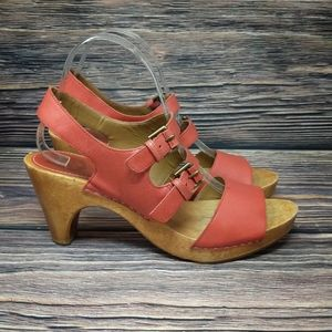 Anthropologie Lucky Penny Red Leather Wooden Heels